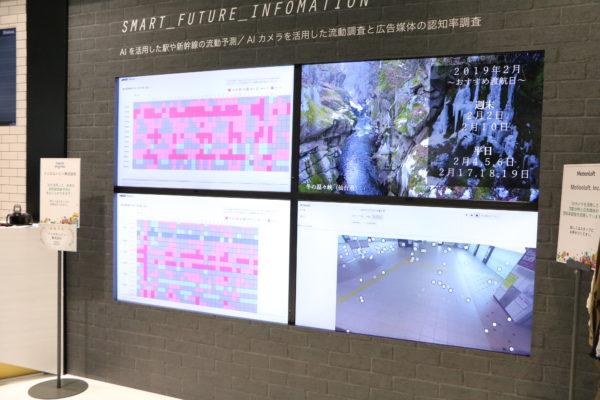 新幹線の混雑状況を提示するデジタルサイネージ